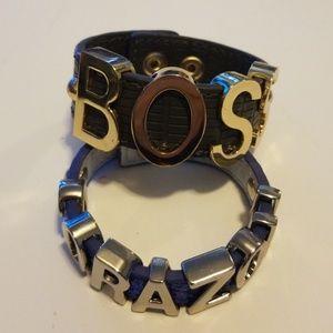 BCBG Generation 2 leather and metal bracelets